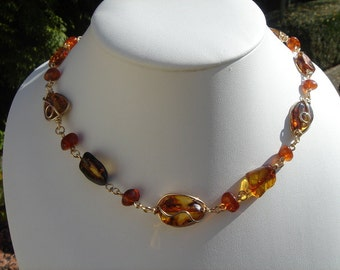Amber necklace, gold, unusual design