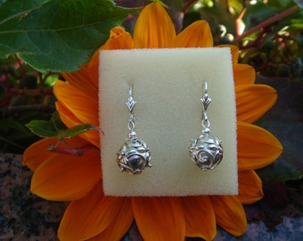 Ethnic earrings, Silver 925, Bali ball, beautifully ornamented