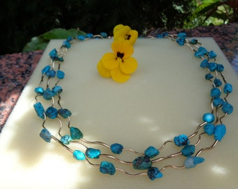 Turquoise chain with bent elements in 585 gold filled, three-row