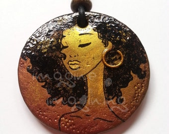 African woman pendant