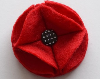 Red Felt Poppy Pin