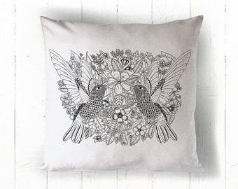 Hummingbirds Cushion Cover 50x50cm natural cover with black print
