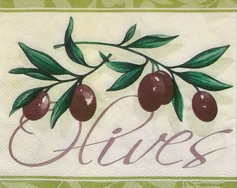 Decoupage paper napkins ''Olives'' set of 2 pcs 3-ply or for collectibles 33x33cm, Decopatch napkins