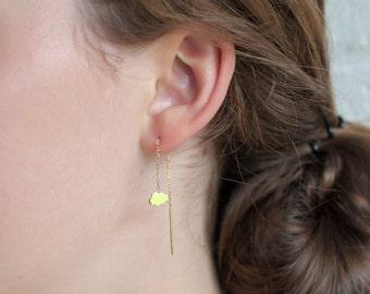 Cloud Chain Earring Gold Fill, Cloud chain thread through earring, Cloud threader earrings