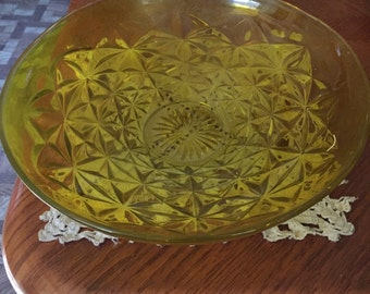 Yellow pressed glass, large, serving bowl, decorative vintage,