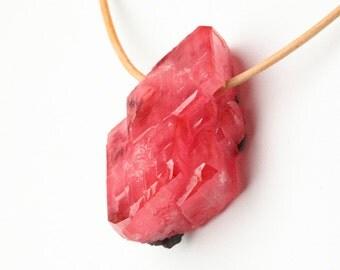 Gem Peruvian Rhodochrosite Crystal Cluster Pendant