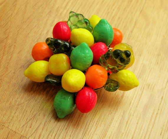 New 1940s Costume Jewelry: Necklaces, Earrings, Pins Fruit brooch/pin 40s 50s inspired fruit salad brooch with glass fruit and leaves. $15.97 AT vintagedancer.com
