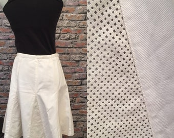 Vintage Denim And Leather White A Line Skirt   Size 8