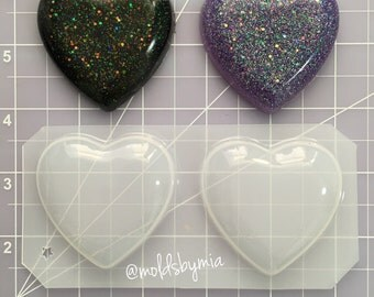 ON SALE Puffy Large Hearts flexible plastic resin chocolate soap mold ~ 2 cavity