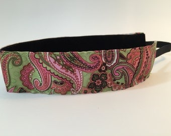 Amebia Dream- Pink and Green Paisley Headband-  Sport Headband- Green- Pink- Paisley- 1.5 inch Headband- no slip