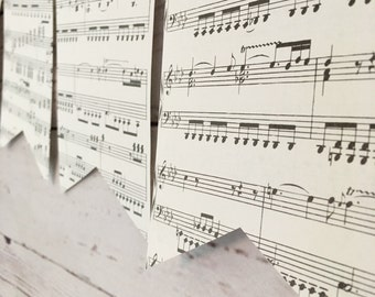 Sheet Music Bunting • Music Themed Banner • Vintage Sheet Music Decor • Music Room Home Decor • Music Book Page Art • Music Theme Party