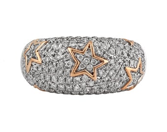 1.12ct Pave Round Diamond with in 14K White & Rose Gold Starry Domed Band Ring - CUSTOM MADE