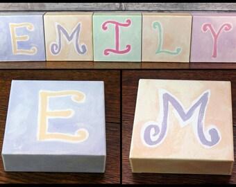 Nursery Name Blocks - Kid's Room Pastel Letters ~ Spells EMILY / MILEY ~ Pottery Barn Kids Canvas Wall Art