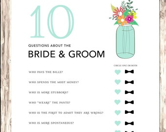 10 Questions | Bridal Shower Games | Bridal Shower Games Printable | Rustic Bridal Shower Game | How well do you know the Bride and Groom
