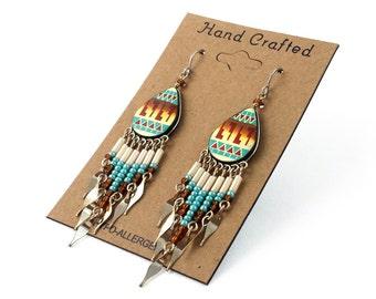 Hand Painted Artisan Southwestern Dangling Earrings