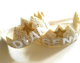 Personalised Gold Crown - Felt Crown - Princess Crown - Lace Crown - Party Crown - Bridesmaid Gift - Fancy Dress -  Birthday Crown - Custom