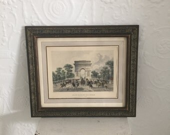 Vintage French Print Arc De Triomphe~Daily Scene on Champs Elysees