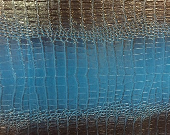 "Blue Black Two Toned Gator Vinyl Fabric - Sold By The Yard 52"" / 54"""