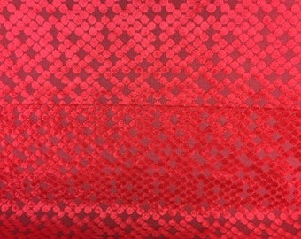 """Red Burnout Circle Velvet Upholstery Fabric - Indoor/Outdoor - BTY - 56"""""""