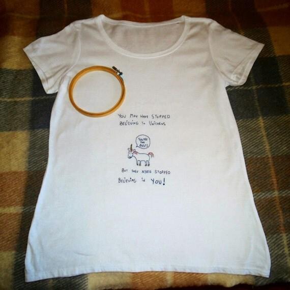 Unicorn T-shirt Hand Embroidery Embroidery Tshirt