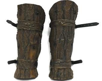 Larp Armor, Studded Bark effect Greaves legs
