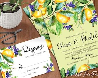 "Watercolor Spring Lemon and Berries Wedding Invitation ""Elena"" - Printable Invitation (DIY)"