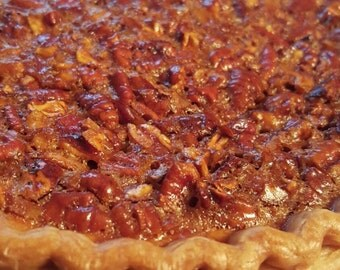 Southern Pecan Pie, buttery flaky crust, rich filling, Georgia Pecans
