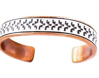 Handmade Copper Silver Cuff Bracelet Navajo
