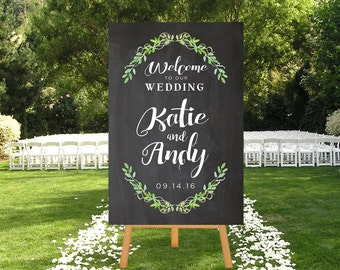 Wedding Welcome Sign, Printable Chalkboard Sign, DIGITAL Sign Wedding Sign, Large Wedding Sign, Choose Colors, Gold, Silver, Chalkboard