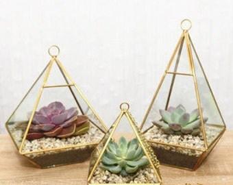 Gold Geometric Glass Terrarium