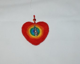 Red rainbow goddess, mother earth, Gaia needle felted heart, car mirror hanging, wall hanging