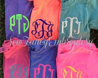 Kids Comfort Colors Monogrammed Shirt, Youth Comfort Colors, Monogrammed Shirt for Kids, Kids Monogrammed, Monogrammed Youth