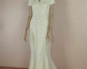 90's Vintage Wedding Dress - Marmaid wedding dress – italian embroidered dress – Marmaid bridal gown - dress 1990's - Off shouldr dress