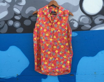 Women's Vintage Shirt Abstract Geometric Print Neon Colors Size Medium Funky Blouse