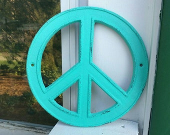 Peace Sign Wall Decor, Turquoise that is Cast Iron, Hand Painted/Hand Distressed, AND Comes With Two Matching Screws!! // Peace Sign //