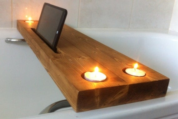 wooden bath tray bath rack with tealight by justoriginalsin. Black Bedroom Furniture Sets. Home Design Ideas