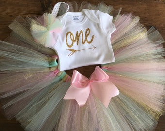"First Birthday Outfit Girl's : One Birthday tutu outfit/Baby girl ""one"" tutu outfit/ onesie and tutu for first birthday"