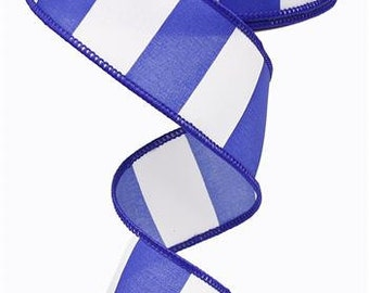 "1.5""X10yd Wide Stripe Wired Edge  Ribbon ( royal blue/white )"