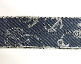 "2.5""x 10 yds Medium Denim Wired Edge Ribbon w/Silver Anchors/ Nautical Decor/Summer Decor/X529740-16"