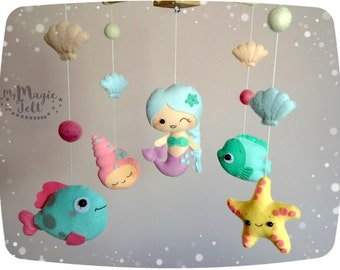 Baby mobile mermaid Crib mobile ocean Mermaid baby mobile Under sea baby girl mobile Mermaid baby mobile Mermaids nursery decorations