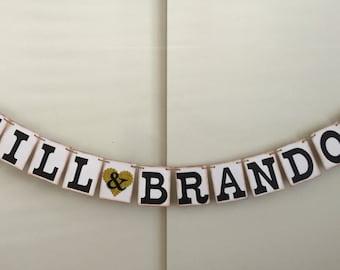 Bride Groom Wedding Banner, Engagement Banner, Names Banner, Wedding Photo Prop, Wedding Garland