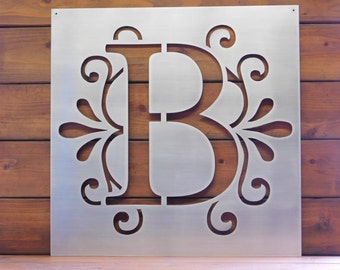 monogram letter sign metal sign metal wall art