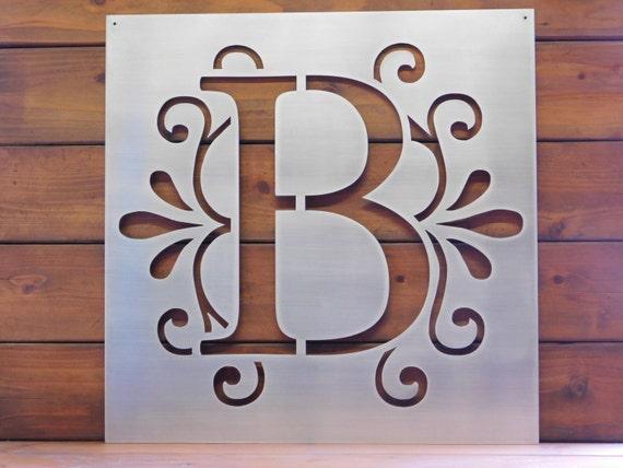 monogram letter sign metal sign metal wall art. Black Bedroom Furniture Sets. Home Design Ideas
