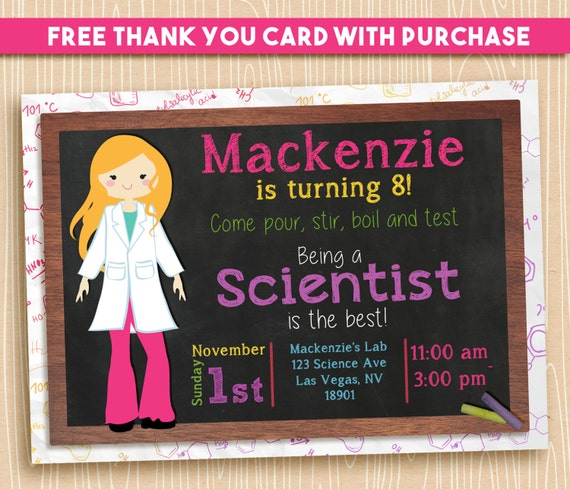 Science Party Invitation / Girl Scientist / Science Birthday Party