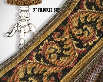 Vintage 3 Inch Filigree Tapestry Border, 2 Yards, FREE S&H
