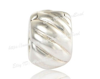 2015 NEW Authentic 925 Sterling Silver ABSTRACT SILVER Clip Charm Bead Fit European Style Bracelets & Necklaces CL049