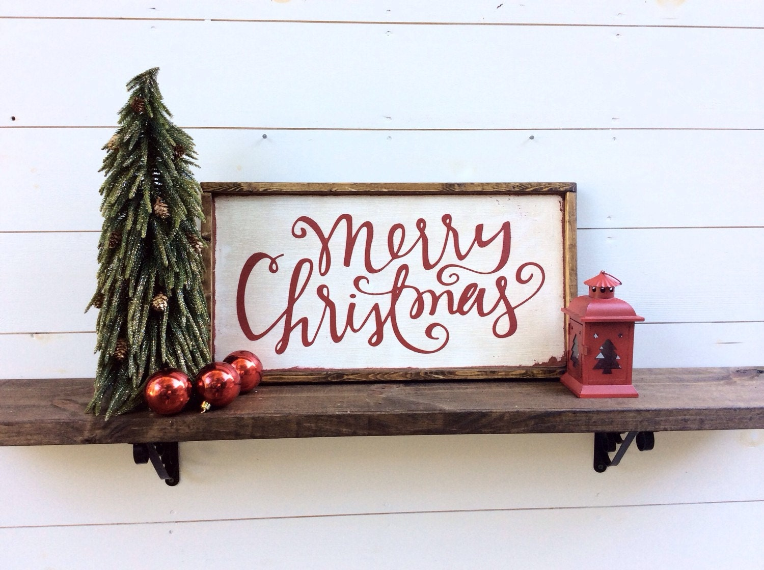 Merry christmas sign rustic