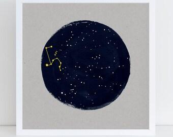 Leo Constellation Birthday Art Print, Zodiac, Horoscope Astrology Starsign Print