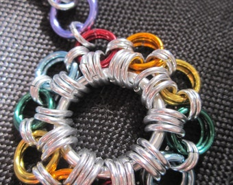Chainmail Rainbow Flower Keyring
