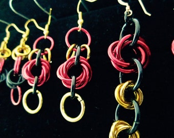 Chainmail Dangle Earrings in Red, Black, and Gold (Choose 1)